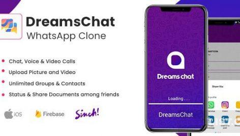 DreamsChat – سورس کد اپلیکیشن شبکه اجتماعی مشابه WhatsApp با قابلیت تماس صوتی و تصویری